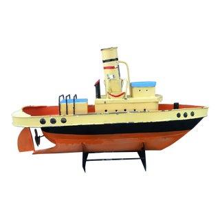 Mid-Century Decorative Painted Metal Ship