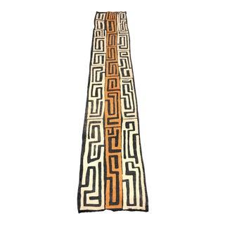 "AfricanTribal Art Handwoven Kuba Cloth From DRC - 1'10"" X 10'5"""