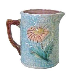 Antique Majolica Ceramic Daisy Pitcher