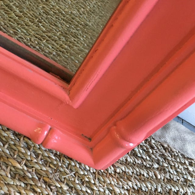 Vintage Coral Faux Bamboo Pagoda Style Mirror - Image 6 of 10