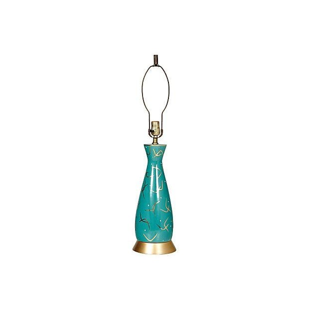 Image of 1950s Turquoise & Gilt Table Lamp