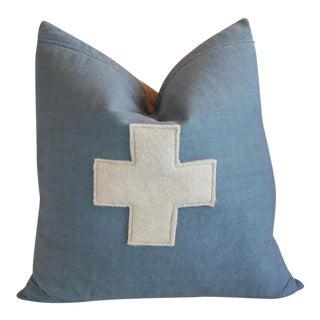 Large Custom Powder Blue Appliqué Cross Feather/Down Pillow