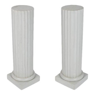 Antique Painted Wood Columns - A Pair