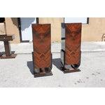 Image of French Art Deco Macassar Ebony Pedestals - A Pair