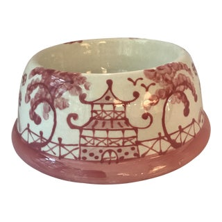 Pink Chinoiserie Dog Bowl