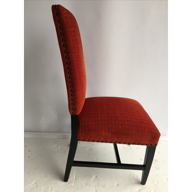 Transitional Red Chenille Dining Chairs - Set of 4 - Image 4 of 11