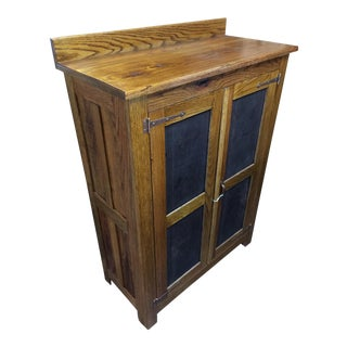Reclaimed Oak & Punched Tin Storage Cabinet
