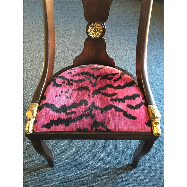 French Empire Chairs in Pink 'Tigre' Fabric - Pair - Image 6 of 8