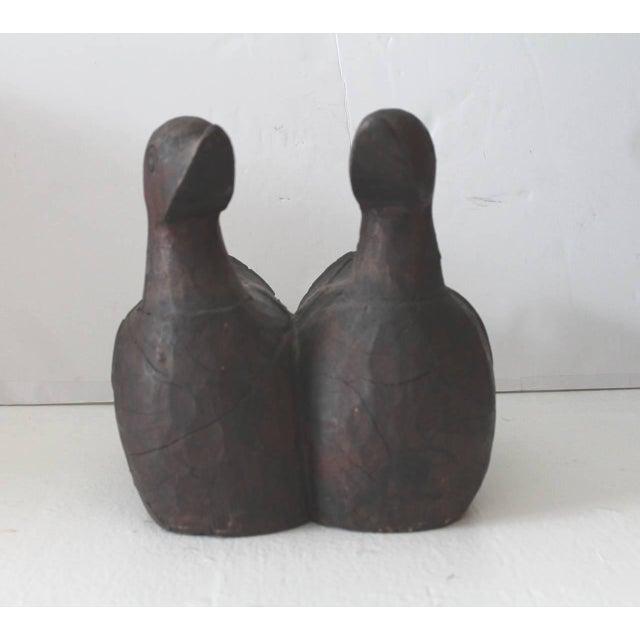 Image of Pair of Hand-Carved Wood Folk Art Ducks