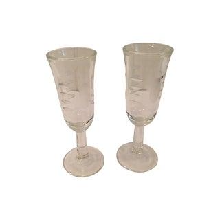 Mid-Century Etched Cordial/Liqueur Stems - Pair