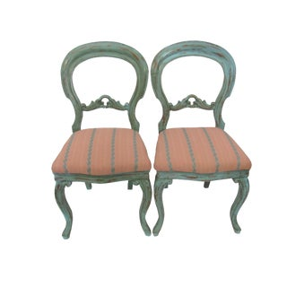 Gustavian Balloon Back Painted Chairs - A Pair