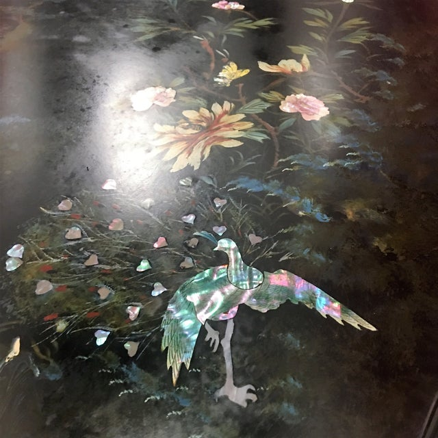 Hand-Painted Asian Black Lacquer Coffee Table - Image 6 of 8