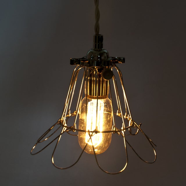 Industrial Metal Cage Pendant Light - Nickel - Image 3 of 3