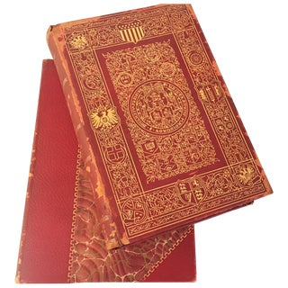 Antique Red & Gold Leather Bound Books - A Pair