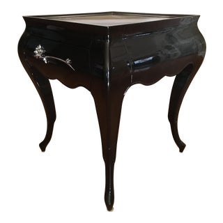 Lacquered Flower Wood Inlayed Side Table W/Drawer