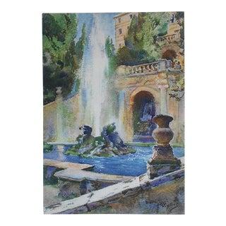 Vintage Lithograph, Villa d'Este in Rome