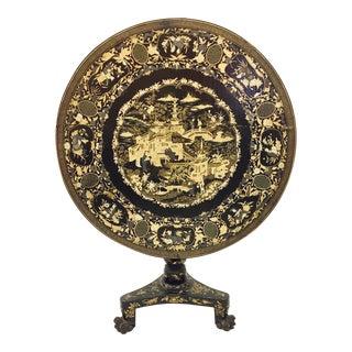 Antique Chinoiserie Tilt Top Pedestal Table