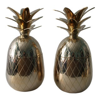 Brass Pineapple Boxes - A Pair