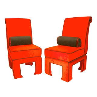Ming - James Mont Style Side Chairs - A Pair