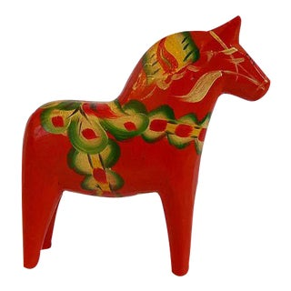 Swedish Folk Art Carved Wood Dala Horse Figurine