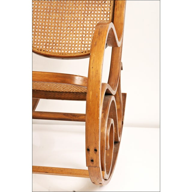 Vintage Thonet-Style Bentwood Cane Rocking Chair - Image 8 of 11