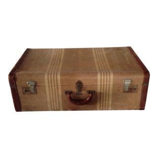 Vintage Brown Striped Suitcase