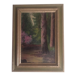 Antique Woodland Oil Painting