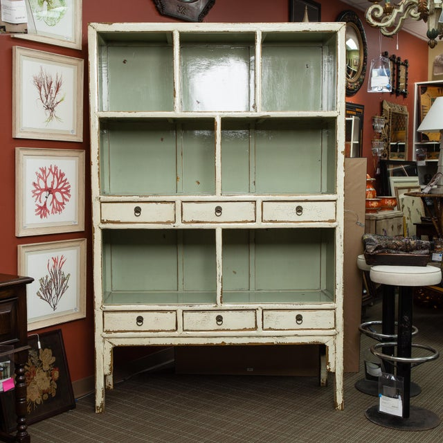 Image of Chinese Cream Lacquered Open Shelf Cabinet