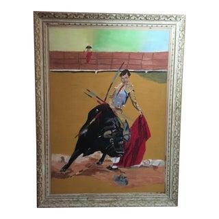 Vintage Spanish Bullfighter Oil Painting