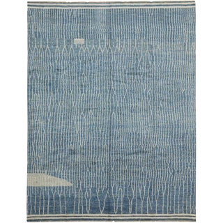 Light Blue and Greige Contemporary Moroccan Style Rug with Abstract Design