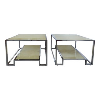 Chrome & Parchment Side Tables - A Pair