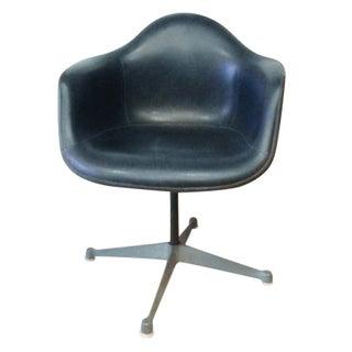 Eames Molded Fiberglass Upholstered Armchair Blue