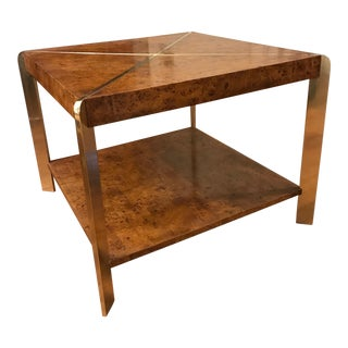 Vintage Brass & Burl Wood Coffee Table