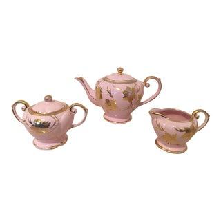 Pink and Gold Gilt Arthur Wood Tea Set