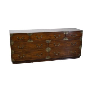 Vintage Henredon Asian Inspired Mahogany Campaign Style Long Dresser