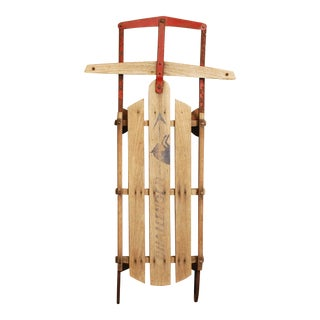 Vintage Distressed Wood Sled -- Challenger