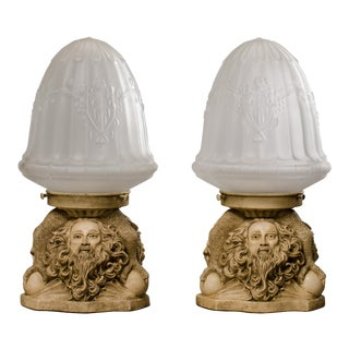 Bearded Old Man Accent Lamps - A Pair