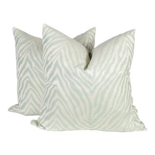 Contemporary Seafoam Green Sateen Nairobi Zebra Pillows - A Pair