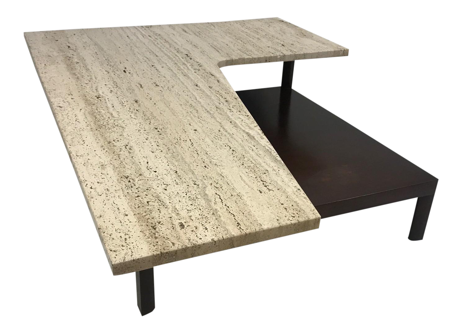 Mid Century Modern Travertine Top Sculptural Coffee Table
