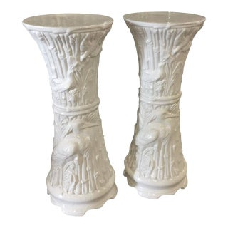 Vintage White Ceramic Faux Bamboo Garden Birds Heron Plant Stands - a Pair