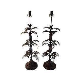 Vintage Italian Tole Palm Table Lamps - A Pair