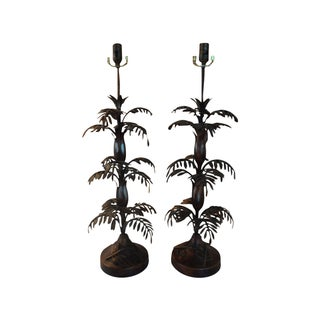 Vintage Italian Tole Palm Table Lamps - A Pair