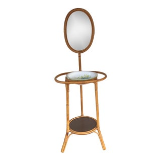 Bamboo Basin and Wash Stand With Mirror