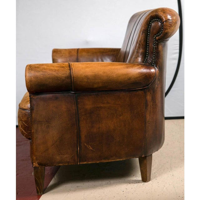 Vintage French Distressed Art Deco Leather Sofa - Image 6 of 9