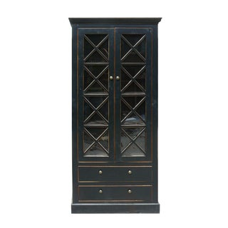 Chinese Glass Showcase Bookcase Cabinet