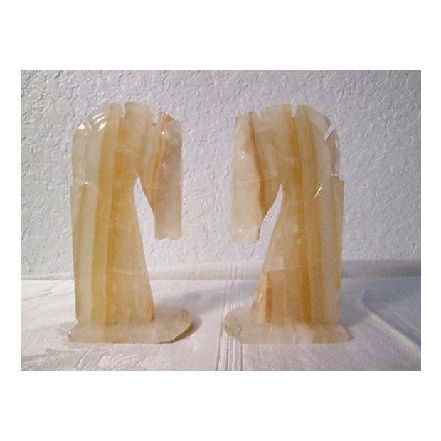 Midcentury Crystal Onyx Horse Head Bookends - Pair - Image 2 of 6