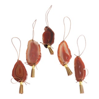 Boho Red Agate Holiday Ornaments - Set of 5