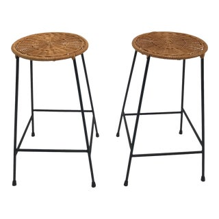 Vintage Arthur Umanoff metal frame counter stools - a Pair