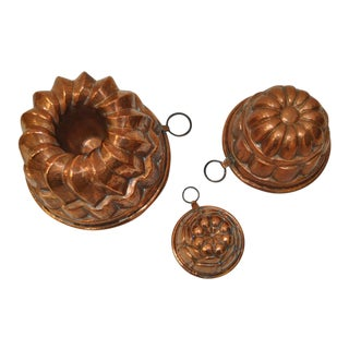 Three Copper Bundt Molds