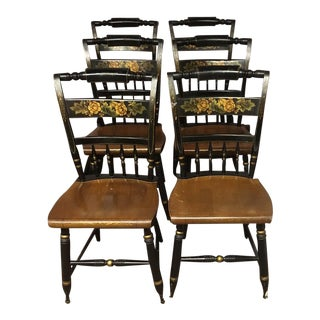 Hitchcock Black Floral Chairs - Set of 6